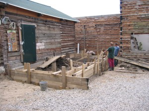 Wooden forms for the foundation's walls.